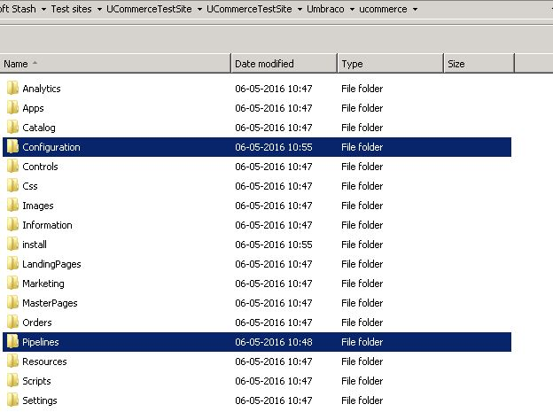 Image of configuration and pipelines folders in windows explorer