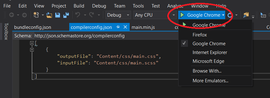 Image of how to change browser in Visual Studio