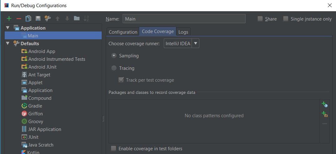 IntelliJ Idea edit configurations..