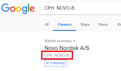 Novo nordisk ticker in google finance