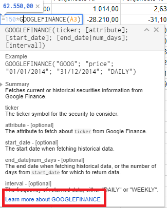 Google finance get price/rate command