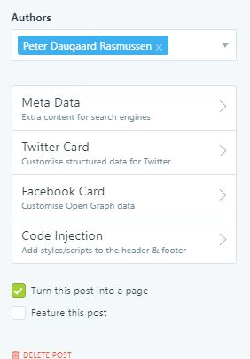 """Ghostblog - check """"turn this post into a page"""", in order to create a static page"""