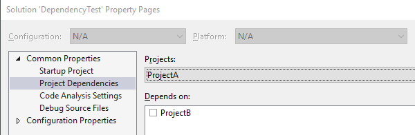 C# make project build depend on another project with no DLL